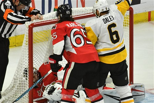 Penguins defenseman Trevor Daley celebrates as the puck gets by Senators goaltender Craig Anderson in the second period of Game 6 Tuesday at Canadian Tire Centre in Ottawa. The Senators challenged the goal and it was overturned.