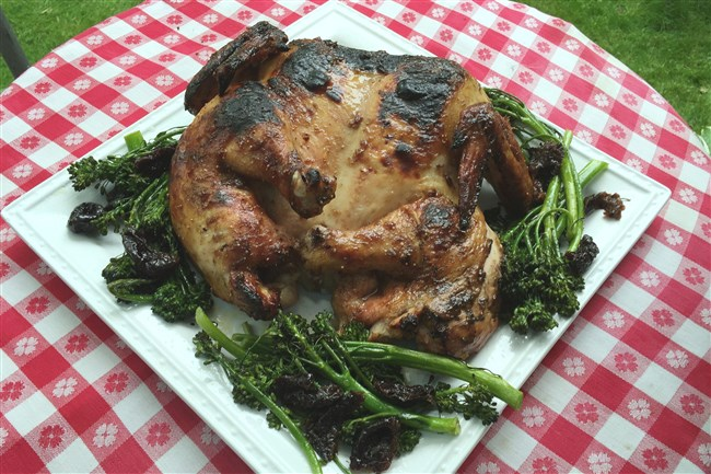 Spatchcocked Chicken with Fig Glaze.