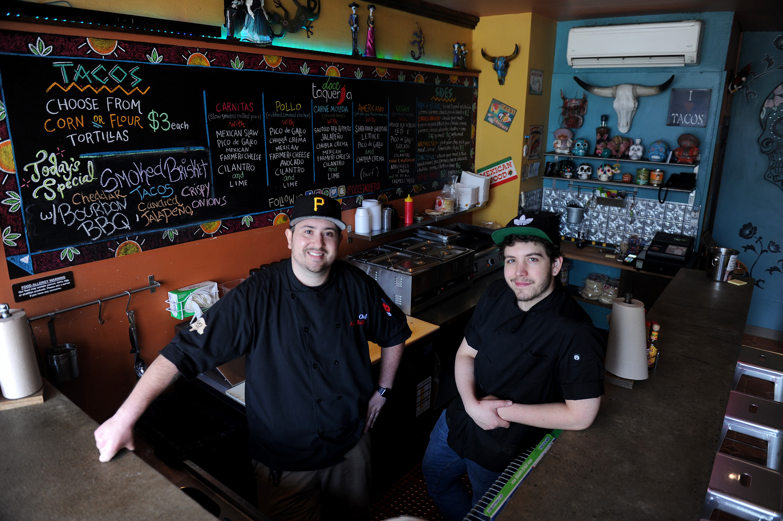 20170523ppDoceTaqueria1MAG Doce Taqueria Chefs Alex Balint and Sean Riffe at the South Side restaurant Tuesday, May 23, 2017.