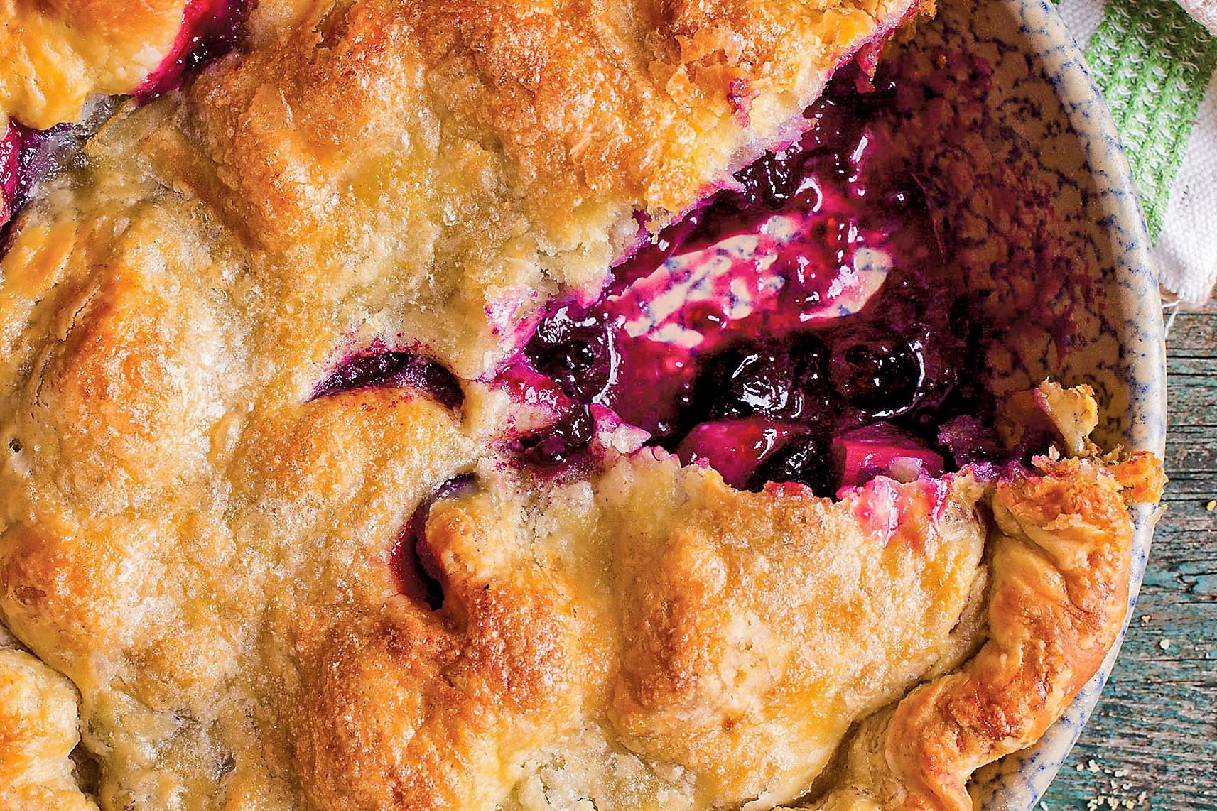 Rhuberry Bluebarb Pie-3 Rhuberry Bluebarb Pie Two fruits combine making a new spin on rhubarb pie.