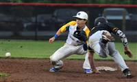 North Allegheny's Alex Mesaros dives into second base as Canon McMillan's Cam Walker awaits the throw in the WPIAL Class 6A baseball semifinals at Boyce Mayview Park in Upper St. Clair.
