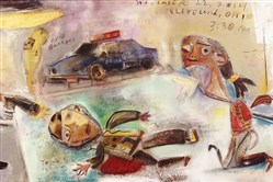 """Tom Megalis' painting, """"Within 2 Seconds, the Shooting of Tamir Rice."""""""