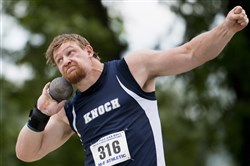Knoch's Jordan Geist didn't get the national high school record in the shot put he had hoped for, but won another state title.