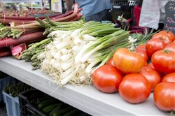 Fresh vegetables from Andrews farm are put on display at Market Square Farmers Market in May 2017. Chad Andrews, of St. Thomas Township in Franklin County, is the third generation fruit grower.