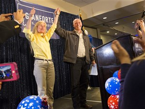 Republican Greg Gianforte celebrates with supporters after being declared the winner at an election night party for Montana's special House election against Democrat Rob Quist in Bozeman.