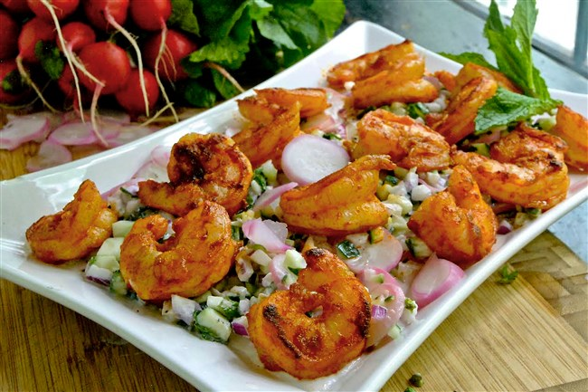 Creamy Shrimp Salad with Radish and Cucumber is a simple dish to make but comes out elegant.
