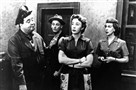 "A scene from the classic television show ""The Honeymooners."" Pictured are, from left: Jackie Gleason as Ralph Kramden; Art Carney as Ed Norton; Audrey Meadows as Alice Kramden; and Joyce Randolph as Trixie Norton."