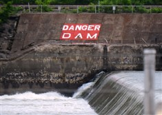 A warning sign can be seen near Dashields Lock & Dam on the Ohio River.
