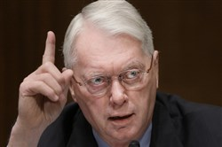 In this March 4, 2009, file photo, former state Sen. Jim Bunning, R-Ky. speaks on Capitol Hill in Washington.