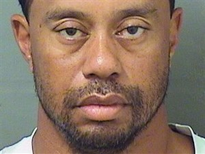 Tiger Woods' booking photo, as provided by the Palm Beach County Sheriff's Office on Monday.