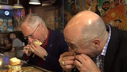 Doc Emrick and Pierre McGuire enjoyed their stay at Primanti's restaurant in the Strip District.