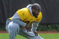 For Sports. Steelers linebacker James Harrison at practice at the team's South Side facility May 31, 2017.