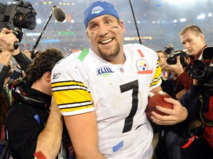 Steelers quarterback Ben Roethlisberger tries to get to the podium after defeating the Cardinals in Super Bowl XLIII. Ron Cook says the Steelers best chance to add to the quarterback's legacy is this season.