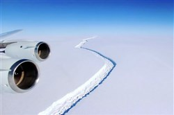 An aerial view of the Larsen C ice rift.