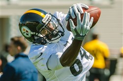 Antonio Brown makes a catch during Steelers workouts June 1 on the South Side.