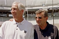 Penn State head football coach Joe Paterno, right, with his then defensive coordinator Jerry Sandusky in 1999.