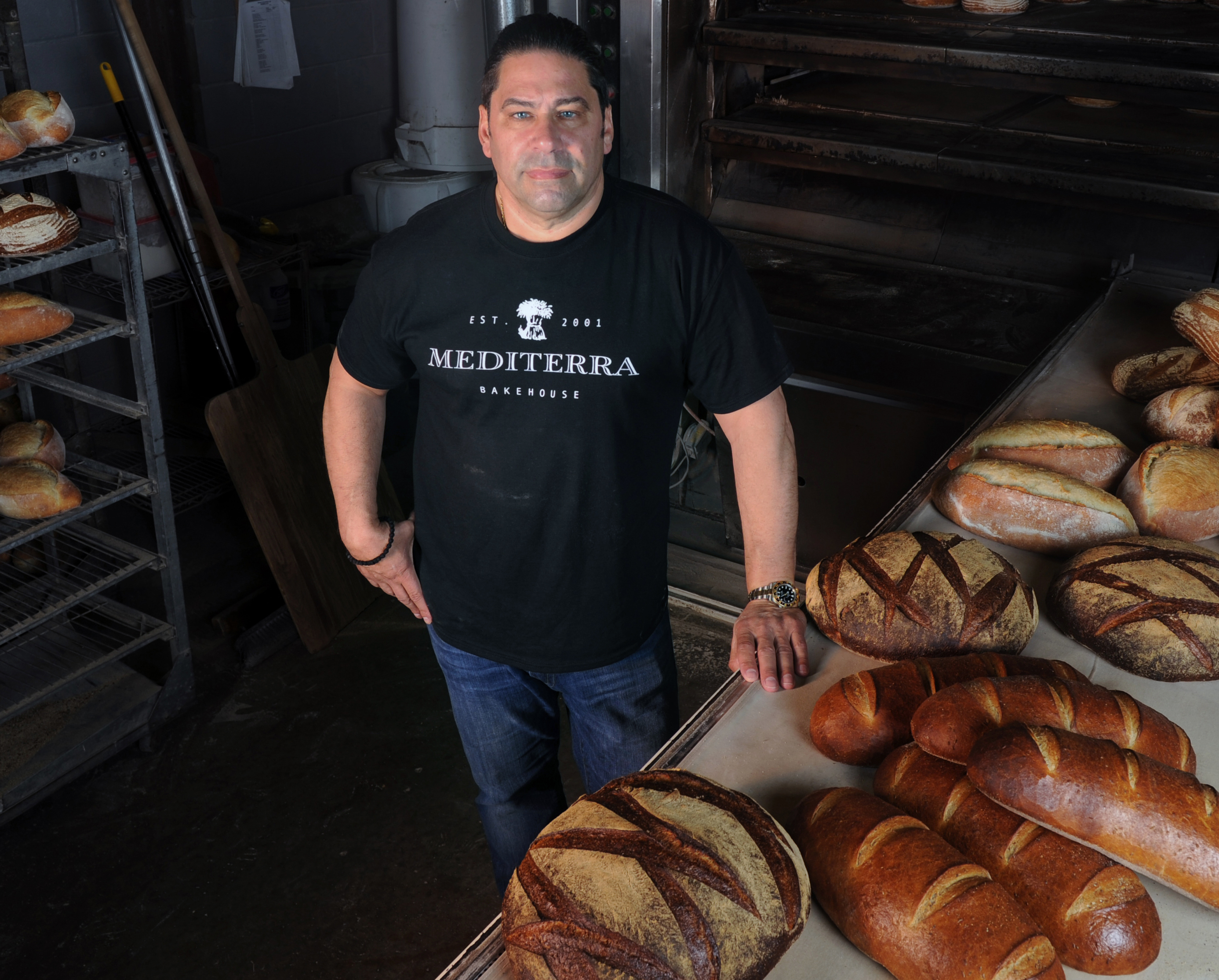 20170601ng-MediterraBread1  Nate Guidry/Post-Gazette. 20170601. For Food section. Reporter Gretchen McKay. Nick Ambeliotis, owner of Mediterra Bakehouse in Robinson, poses for a portrait June 1, 2017.