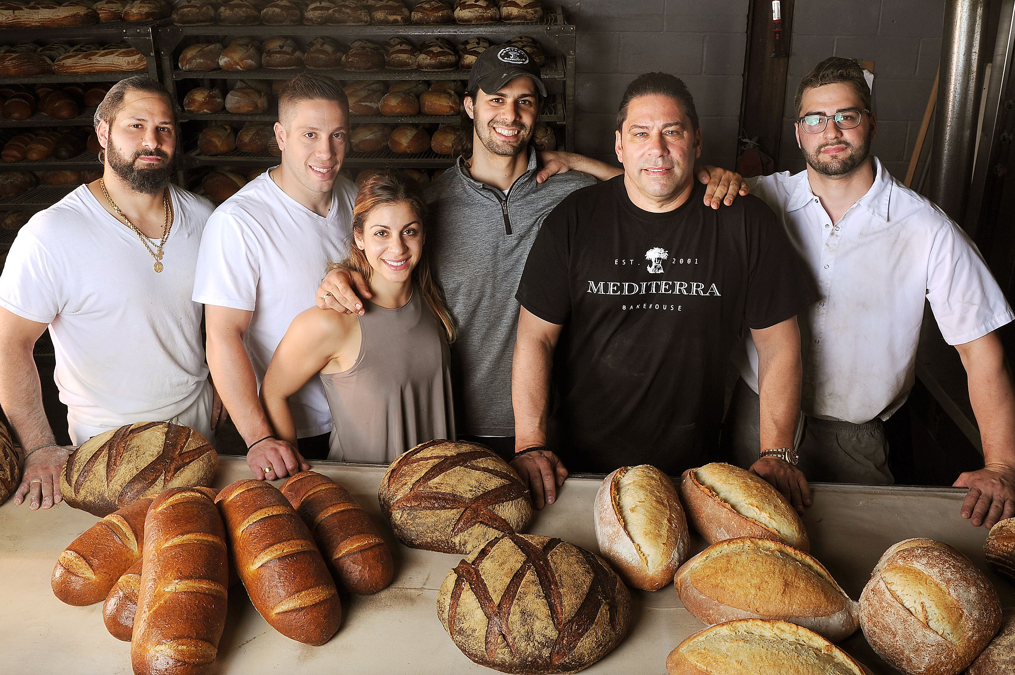 20170601ng-MediterraBread6-5 A portrait of the Ambeliotis family: from left, Anthony, 31, production manager; son-in-law Garrett McLean, sales manager; daughter Nicole, 28, administration; Mike, 33, business manager; Nick; and youngest son Nicholas, 26, head baker.