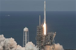 The SpaceX Falcon 9 rocket, with the Dragon spacecraft onboard, launches from pad 39A at NASA's Kennedy Space Center in Cape Canaveral, Fla, Saturday.