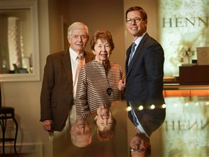 At the family business, Henne Jewelers on Walnut Street in Shadyside, are, from left, Jack and Nancy Henne and their son, John Henne Jr. John is the fourth generation to operate the business, which opened in 1887.
