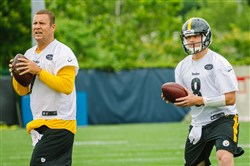 Steelers quarterbacks Ben Roethlisberger and Bart Houston take part in minicamp practises at the team's UPMC Southside facility on June 7.