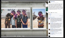 "This post on Maranie Rae's Facebook account shows two of her photos that were defaced with spray paint. The photos, which were part of a Riverlife exhibit that was being displayed as part of the Three Rivers Arts Festival, were being shown along the walkway on the Downtown side of the Allegheny River. In her post, Ms. Rae, who is listed as Maranie Staab on the art installation, said, ""As some of you know i've had the privilege of some of my images from the middle east included in this year's three rivers arts festival. the exhibition is a public art display, along the pittsburgh riverfront, and is entitled ""displaced."" my hope for it was and is put names and faces to a growing number of people who have been forced from their homes. it is meant to humanize those that are too often dehumanized."""
