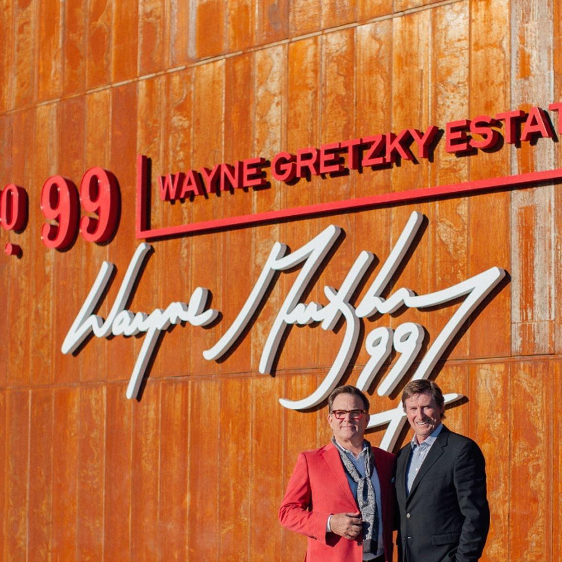 wayne gretzky estates winery John Peller, CEO, Andrew Peller Ltd and Wayne Gretzky celebrate the Grand Opening of the new Wayne Gretzky Estates Winery & Distillery in Niagara-on-the-lake.