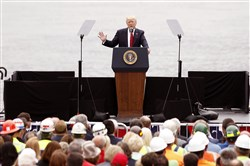President Donald Trump delivers a speech on Wednesday in Cincinnati, Ohio.  Mr. Trump spoke about transportation and infrastructure projects.