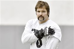 Steelers offensive tackle Alejandro Villanueva warms up during practice on the South Side in January.