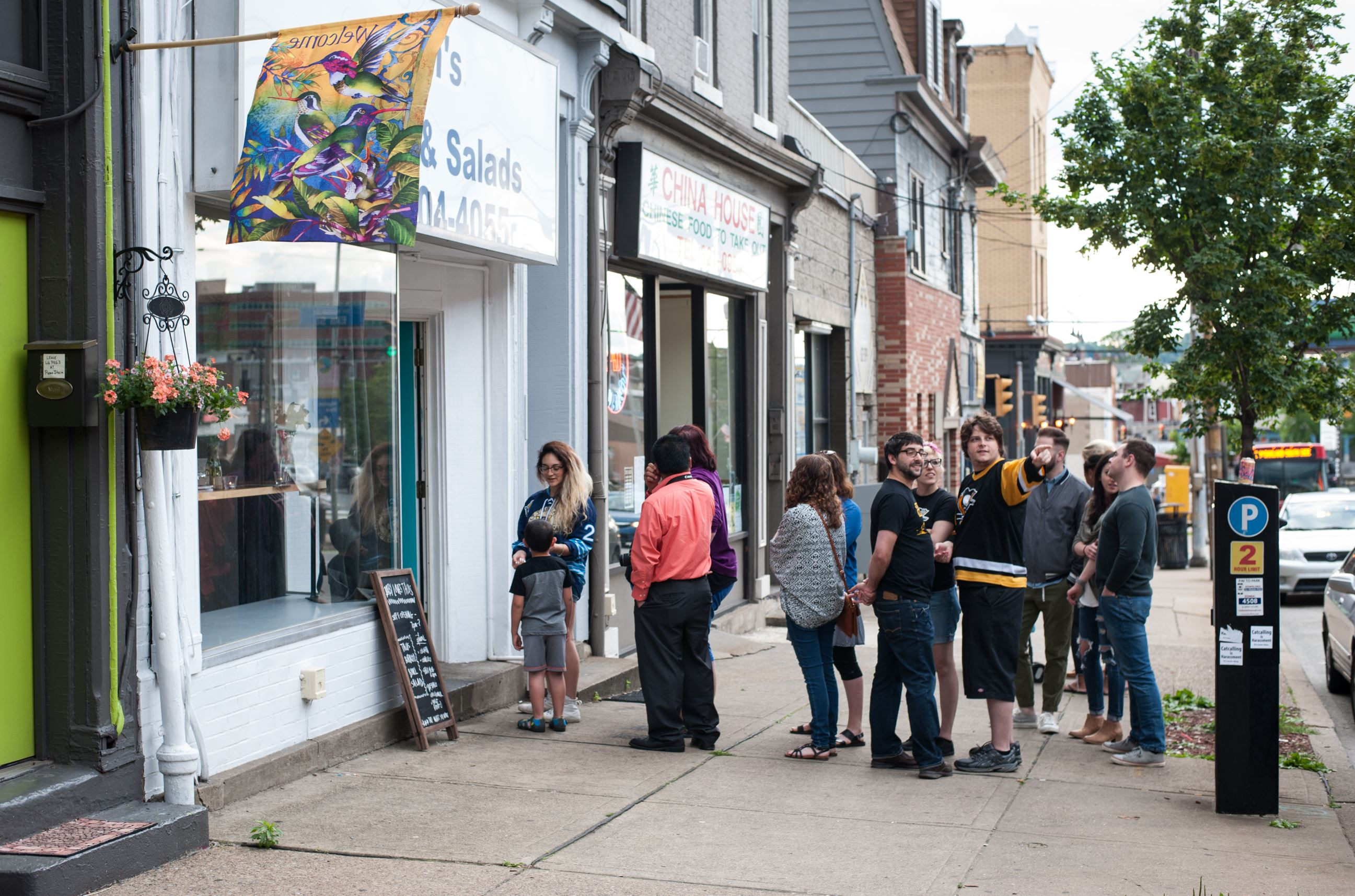 20170608smsTacos02-1 Customers wait outside the door to try Liberty Avenue's newest restaurant, Baby Loves Tacos in Bloomfield.