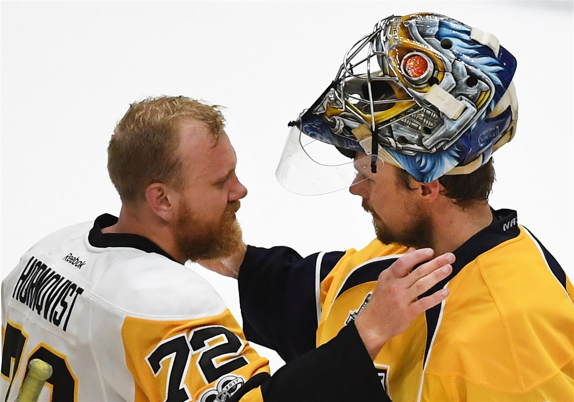 Patric Hornqvist And Pekka Rinne Embrace After The Penguins Won The Stanley Cup In Nashville