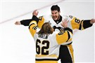 Sidney Crosby celebrates with Carl Hagelin after winning the Stanley Cup.