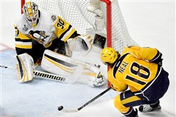 Predators forward James Neal shoots on Penguins goaltender Matt Murray in the first period of Game 6 of the Stanley Cup final June 11 at Bridgestone Arena in Nashville.