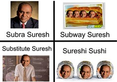 These memes are part of a group of puns about Carnegie Museum University president Subra Suresh's name.