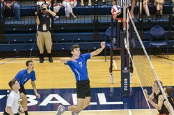 Peter Barbato of Beaver County Christian goes up for a spike against Northeastern in the PIAA championship match.