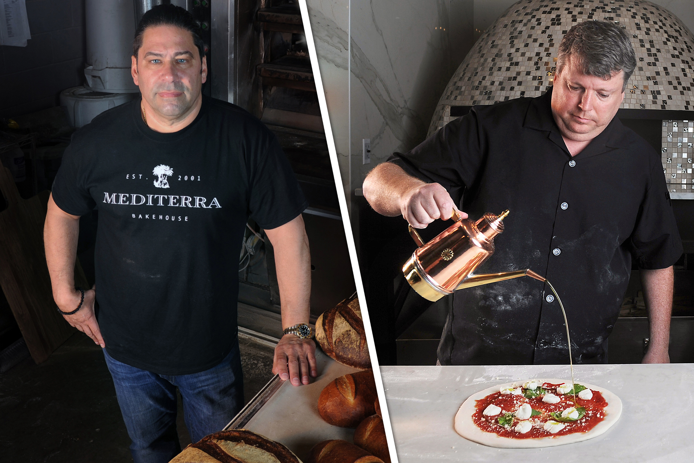 FOOD Ambeliotis and Molinaro dough Nate Guidry/Post-Gazette Left: Nick Ambeliotis, owner of Mediterra Bakehouse. Right: Ron Molinaro, executive chef and owner of Il Pizzaiolo.