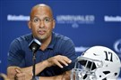 Penn State football coach James Franklin talks about the Nittany Lions' alternate uniforms Thursday at Beaver Stadium.