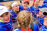 The Mount Pleasant softball team celebrates after winning the PIAA Class 4A championship.