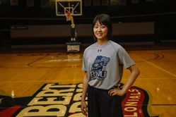 Honoka Ikematsu, the newest Robert Morris women's basketball recruit and the first-ever Japanese recruit in program history, poses for a portrait at the school on May 26.