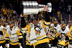 Penguins captain Sidney Crosby takes a second lap with the Stanley Cup after defeating the Predators in Game 6 of the Stanley Cup final Sunday at Bridgestone Arena in Nashville.