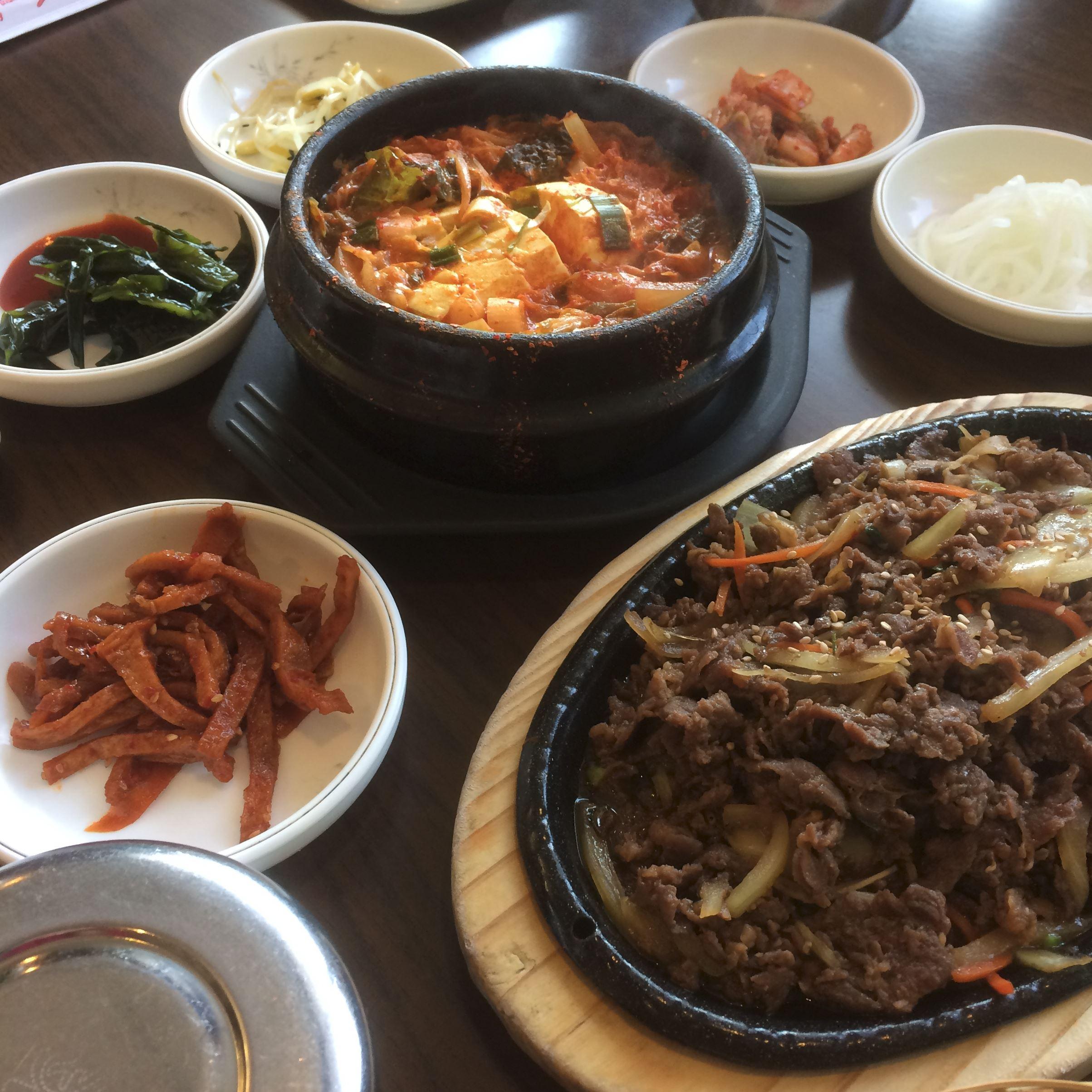 Korean dinner Part of Korean dinner for three at Duru Restaurant in downtown St. Catharines, Ontario.