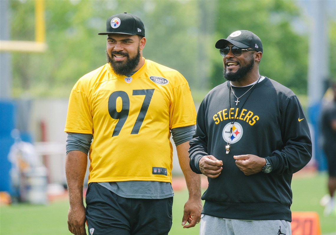 Cam Heyward 28 is the wily vet in a youthful Steelers front