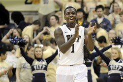 Tray Woodall celebrates a Panthers victory against Villanova in February 2012.