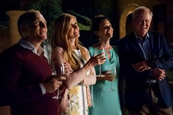 "David Warshofsky, left, Connie Britton, Amy Landecker and John Lithgow in ""beatriz at Dinner."""