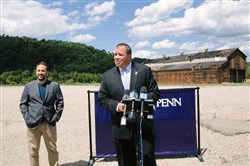 McKeesport Mayor Mike Cherepko answers questions Tuesday with PurePenn LLC CEO Gabe Perlow at a news conference after PurePenn received a state license to grow medical marijuana in McKeesport.