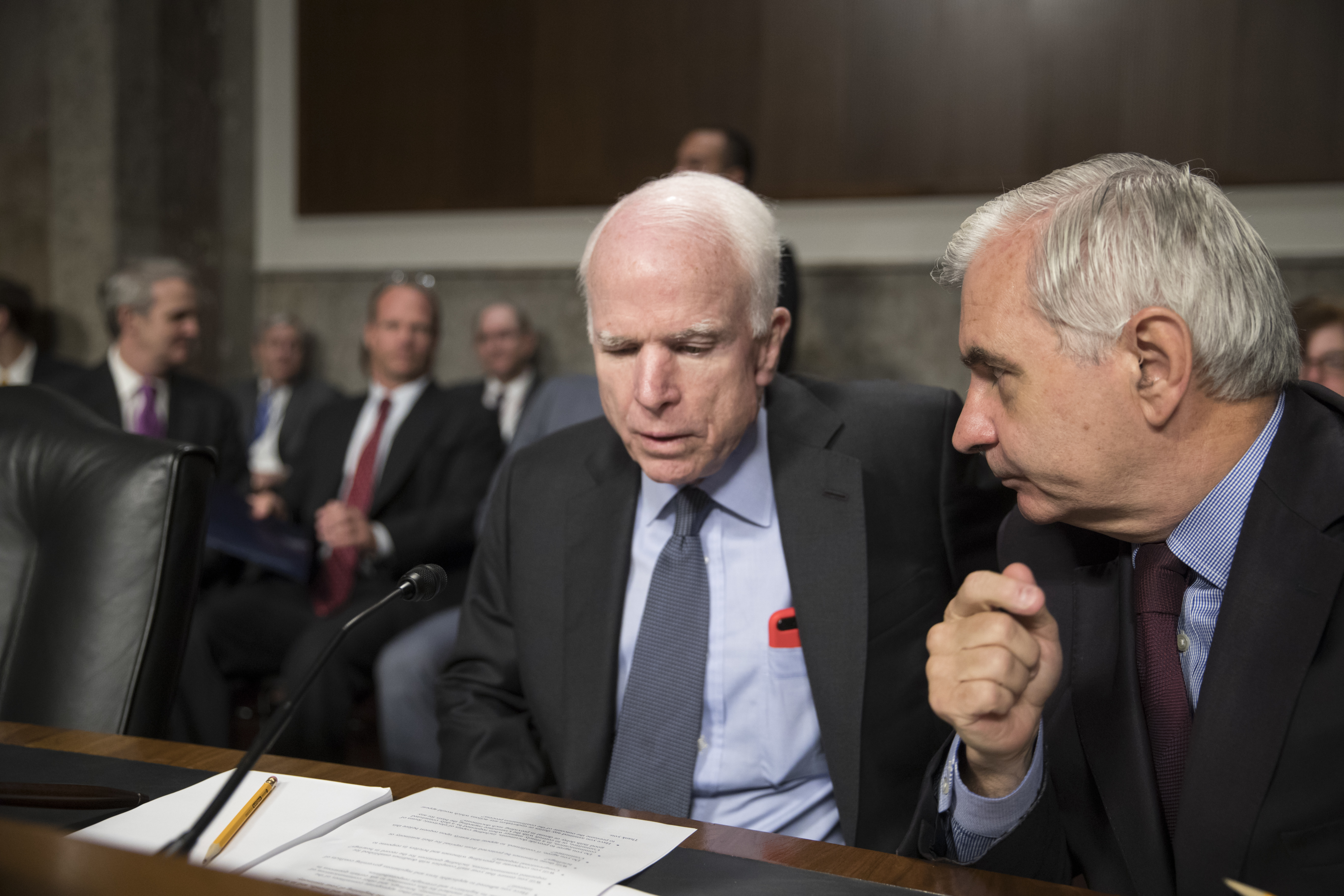 North Korea Detainee McCain U.S. Sen. John McCain, R-Ariz., left, confers with Sen. Jack Reed, D-R.I., at the start of a hearing at the Capitol in Washington in June.