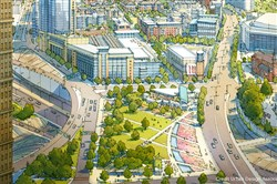 An artist's rendering of the CAP project, a greenspace overpass that would cover I-579/Crosstown Boulevard and connect the Lower Hill District with Downtown.