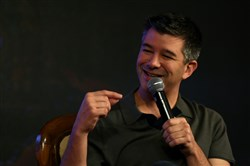 This December 2016 file photo shows Uber co-founder and then-CEO Travis Kalanick as he speaks at an event in New Delhi.