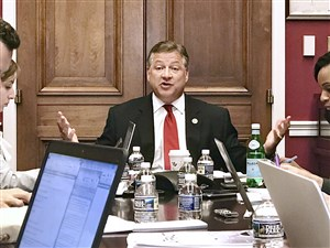 U.S. Rep. Bill Shuster, who chairs the House Transportation and Infrastructure Committee, discusses his air-traffic control privatization bill with reporters Wednesday on Capitol Hill. Tracie Mauriello Pittsburgh Post-Gazette 703-996-9292 Tracie Mauriello Pittsburgh Post-Gazette 703-996-9292