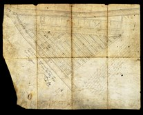 The earliest existing drawing of Pittsburgh's town plan, produced in 1784 by surveyor George Woods for the Penn family, which owned the land.